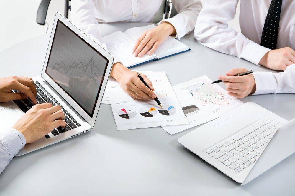 Team working on computer