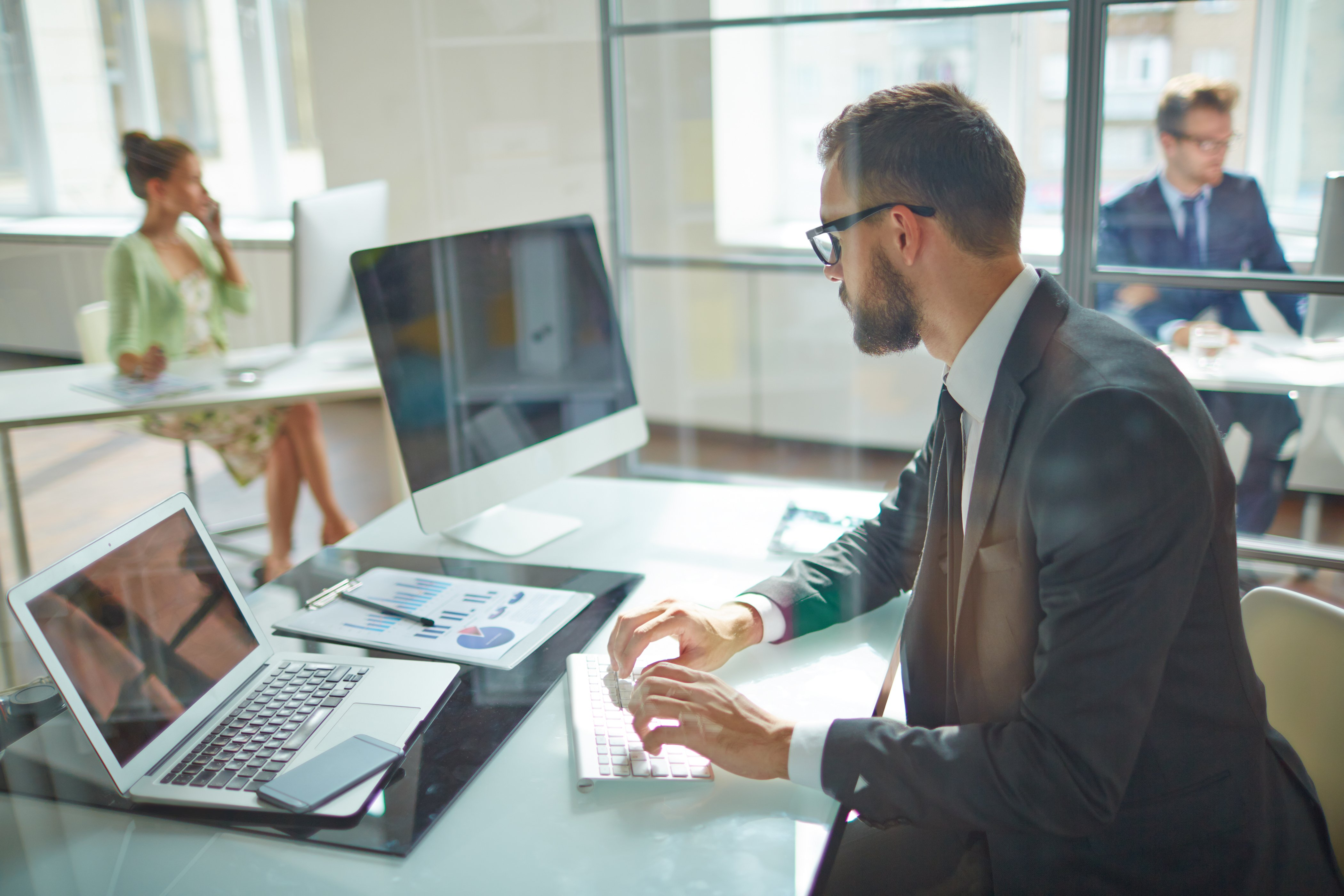 Man working at computer in office