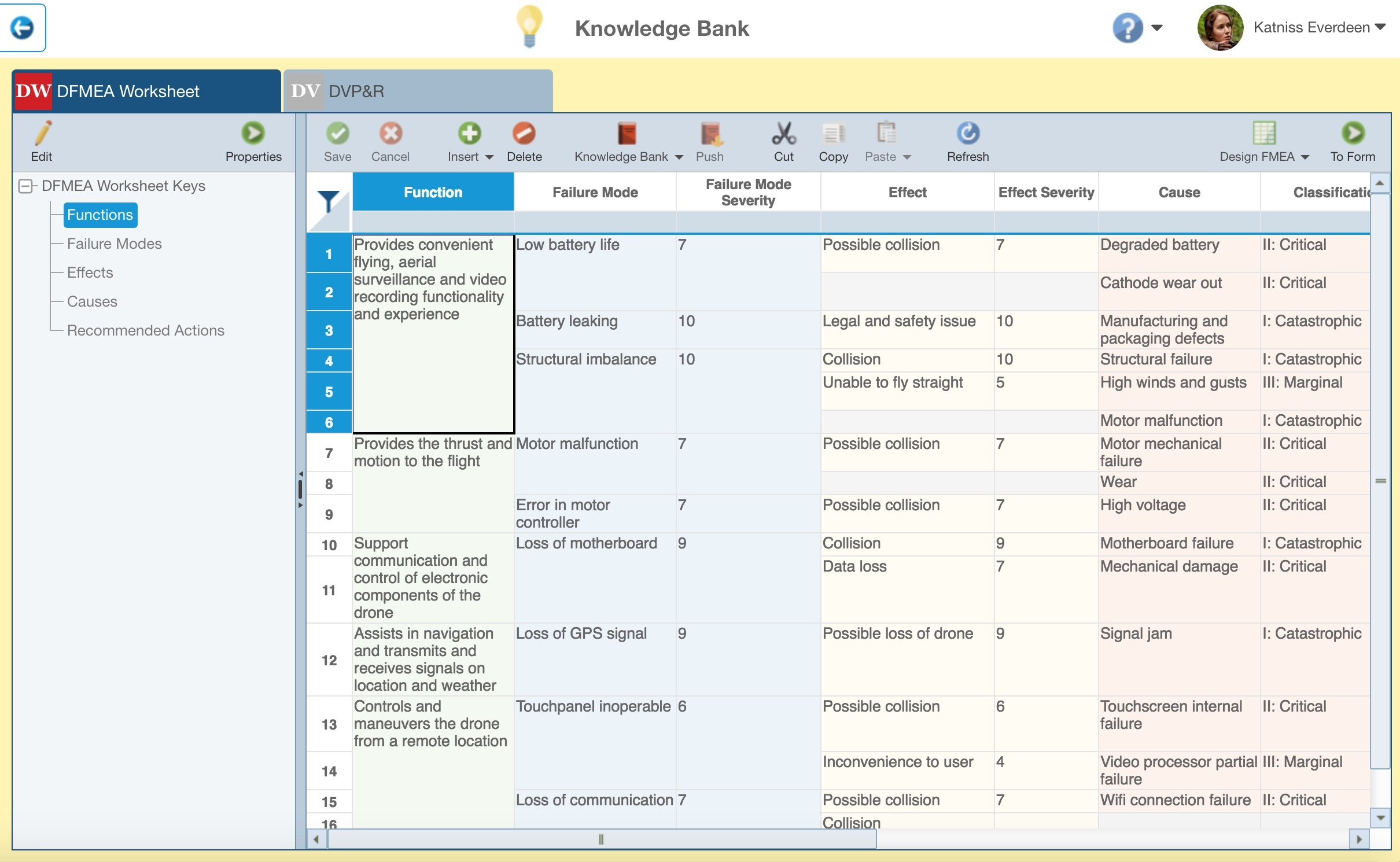 Screenshot of Relyence FMEA Knowledge Bank Interface