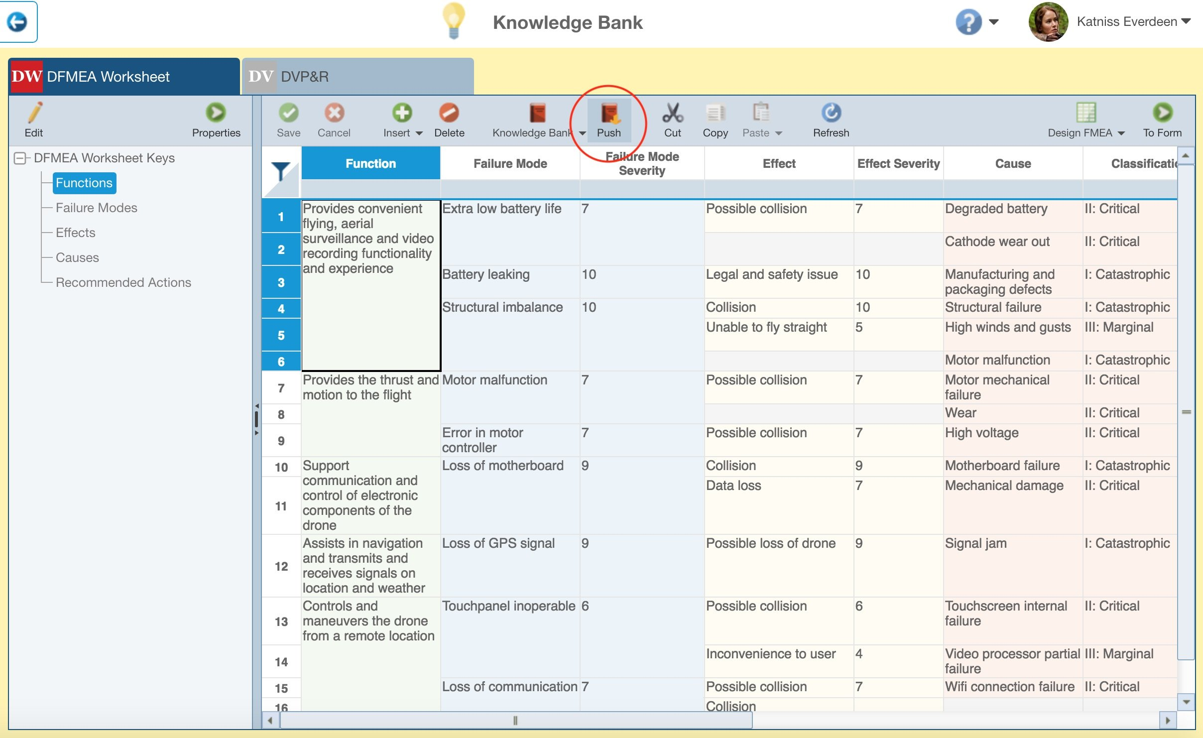 Screenshot of using the FMEA Knowledge Bank to keep FMEAs in sync