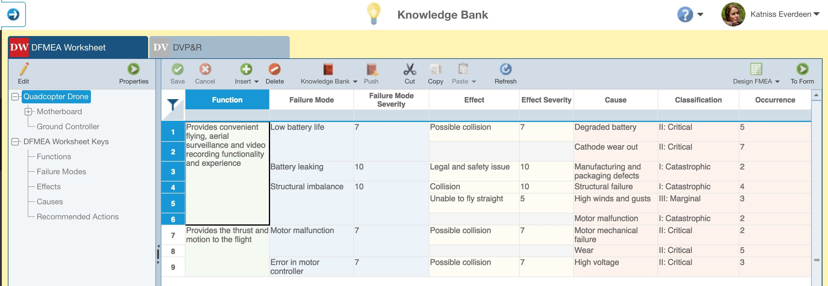 Screenshot of Relyence FMEA Knowledge Bank