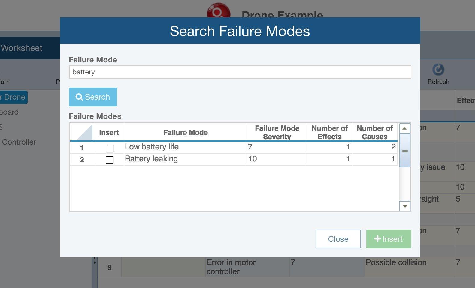 Screenshot of retrieving data from the Relyence FMEA Knowledge Bank