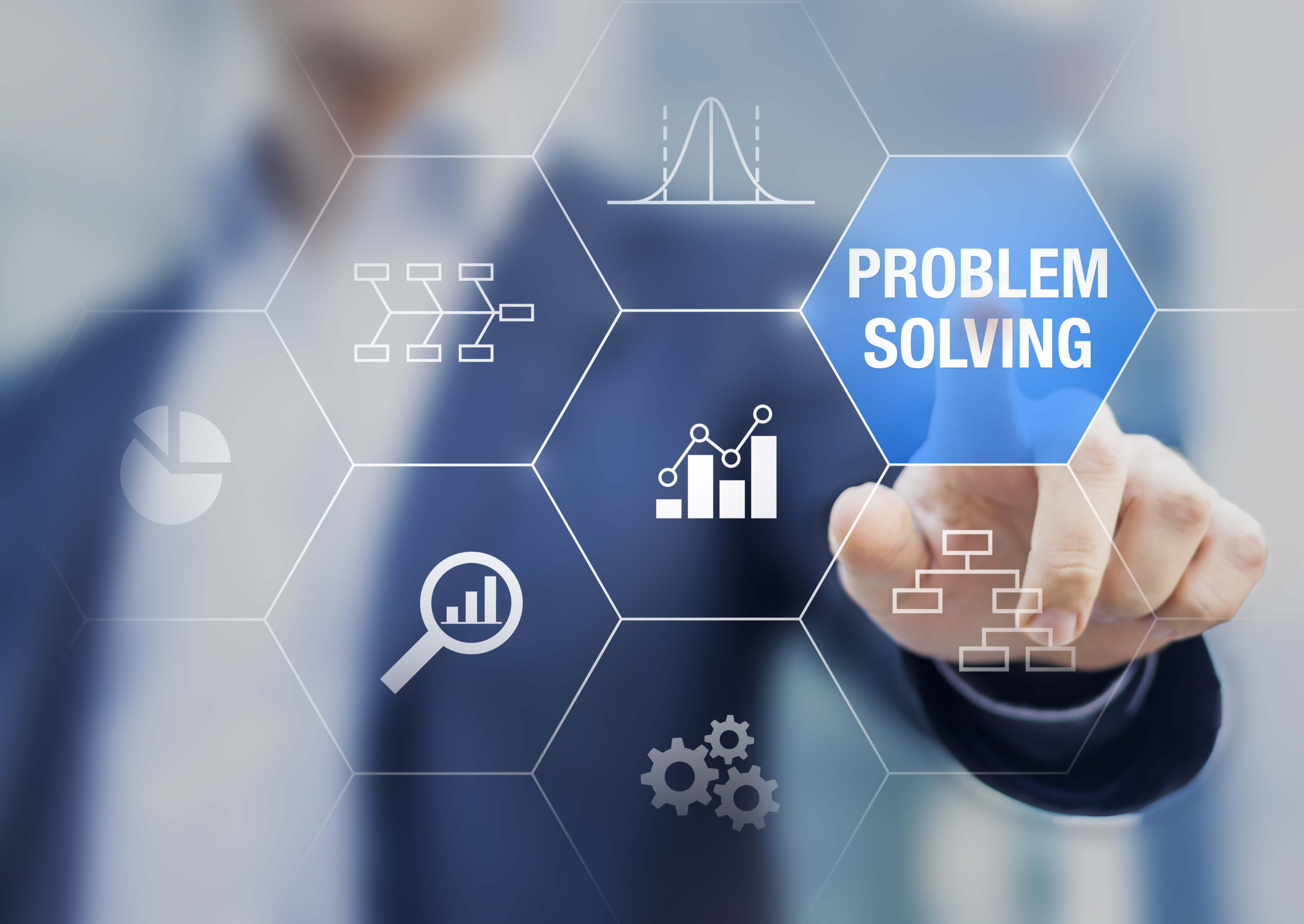 Man pointing to Problem Solving