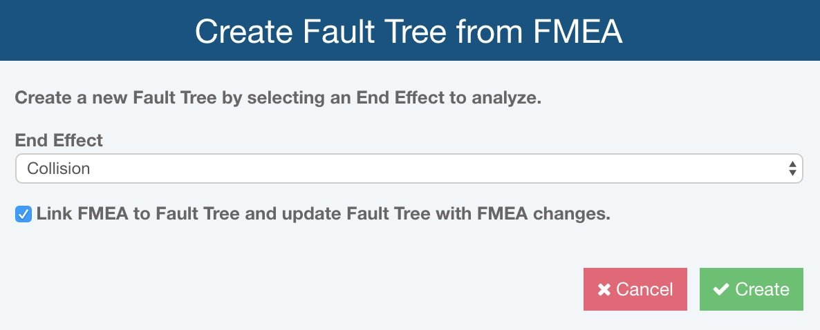 Relyence create Fault Tree from FMEA