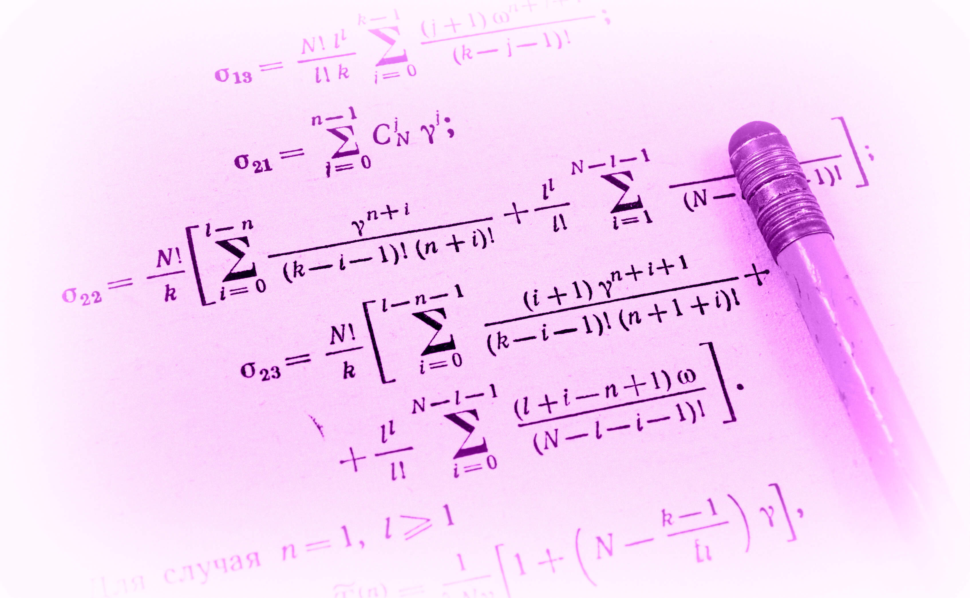 Mathematical equations on paper