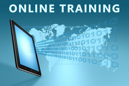 32077745 - online training illustration with tablet computer on blue background