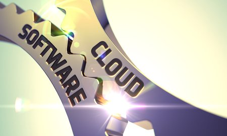 57086449 - cloud software - technical design. cloud software on the mechanism of golden cog gears with lens flare. golden cogwheels with cloud software concept. 3d.