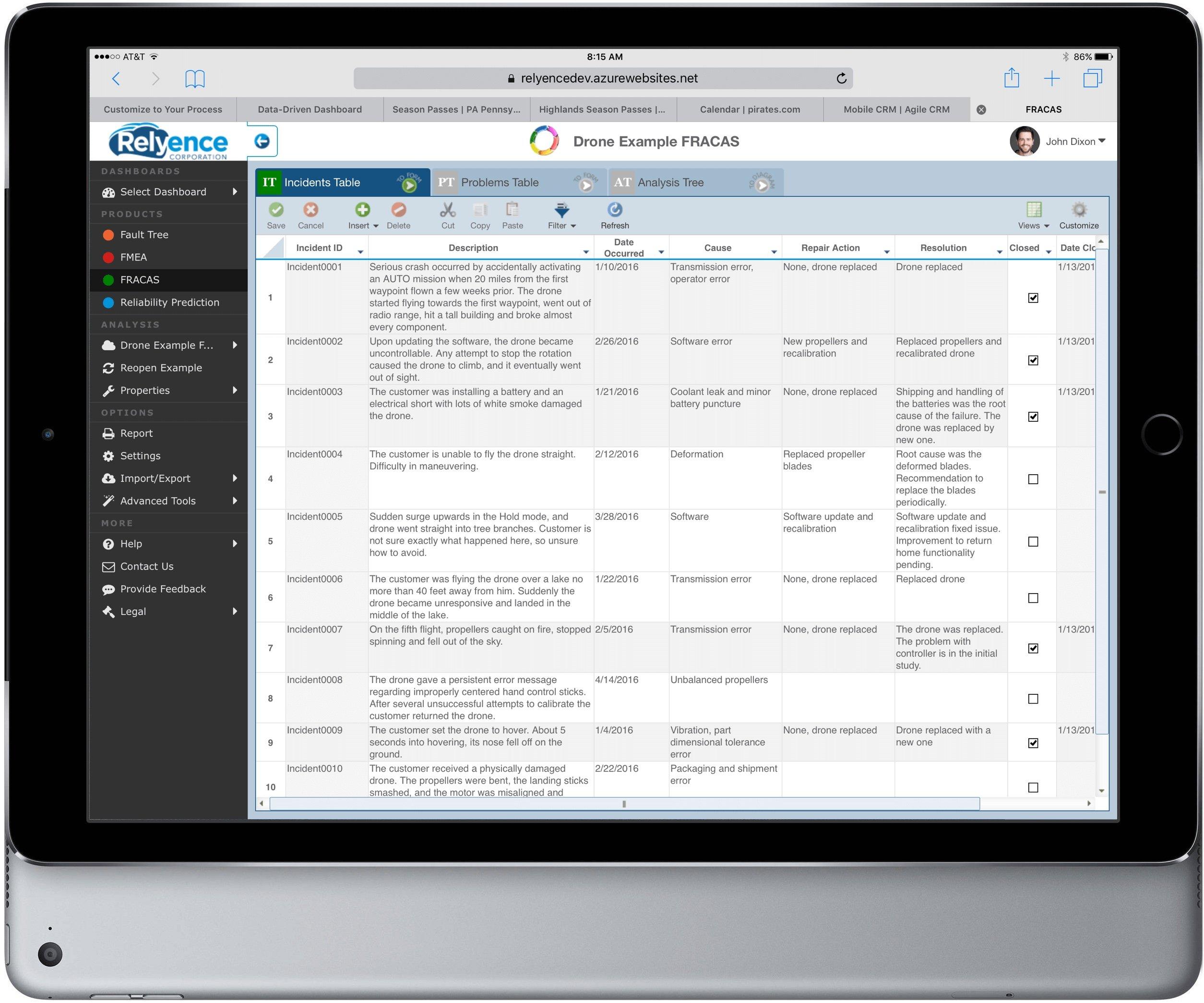 Relyence FRACAS on iPad