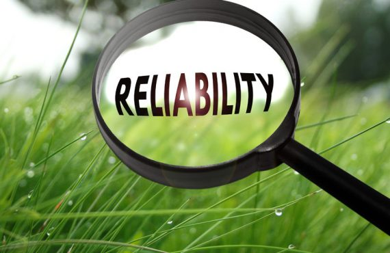 """Reliability"" word in magnifying glass"