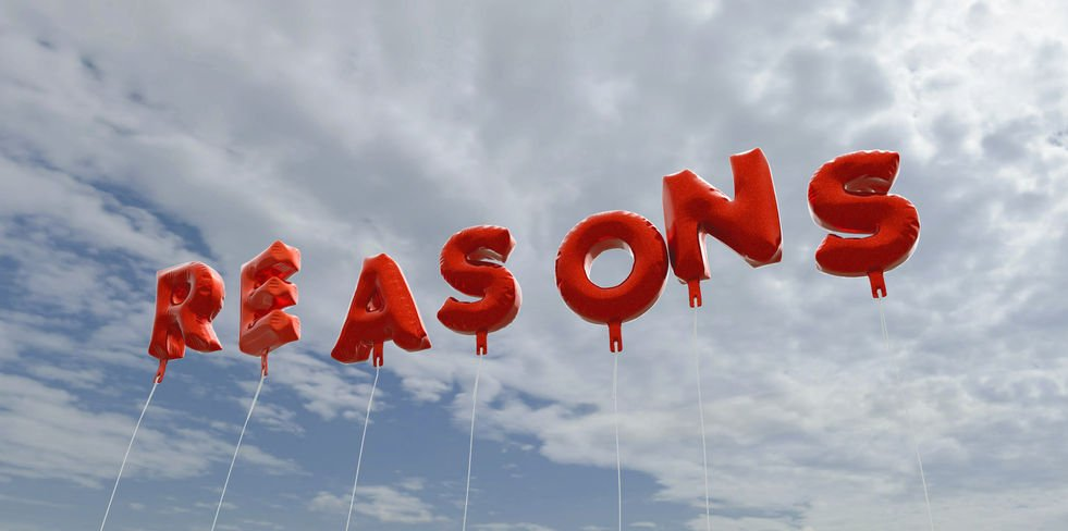 "Red balloons in sky that spell ""Reasons"""