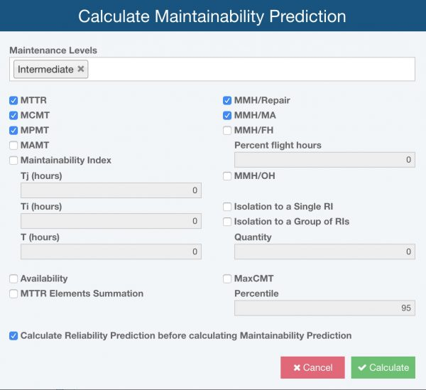 Relyence Maintainability Prediction Calculations
