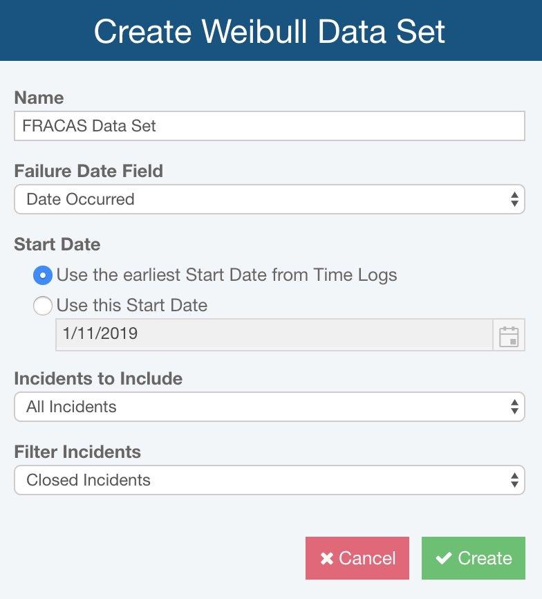 Relyence Create Weibull Dataset feature