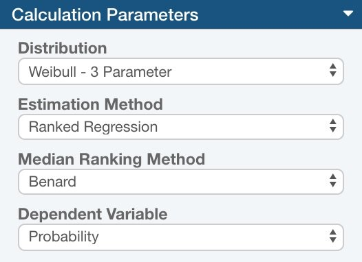 Relyence Weibull Calculation Parameters