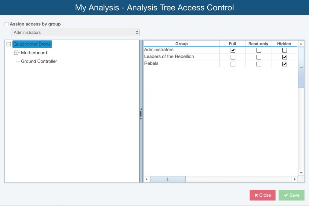Relyence Access Control Features