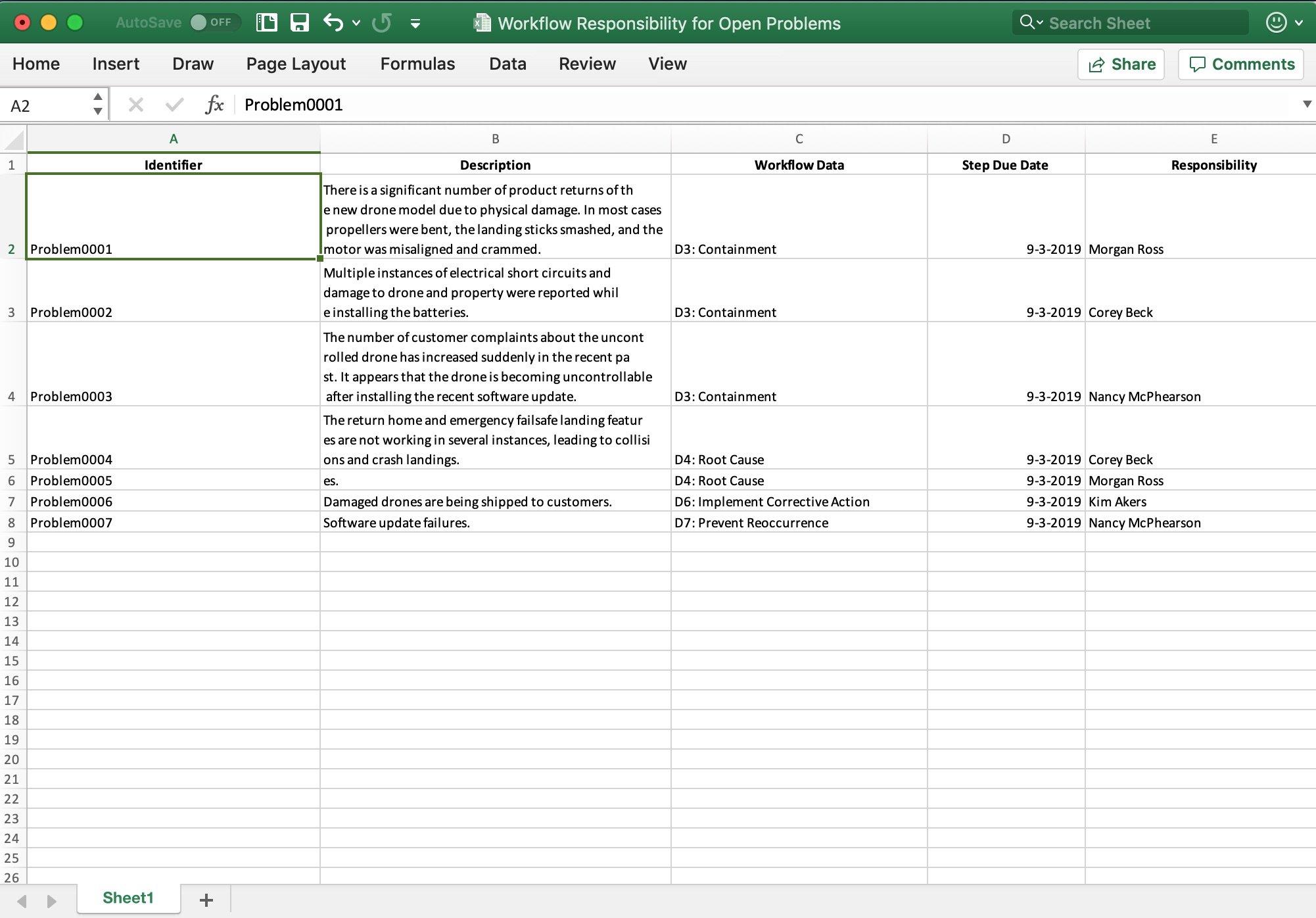 FRACAS Excel Export