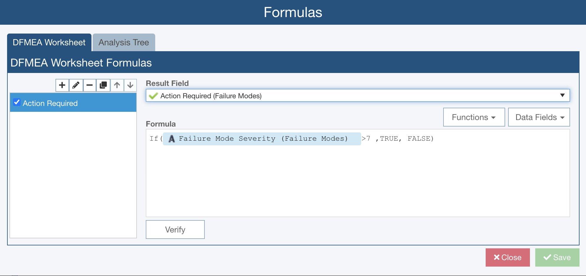 Relyence FMEA Formulas