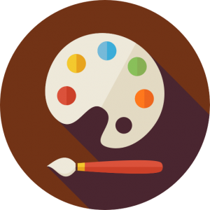 Easel and paintbrush icon