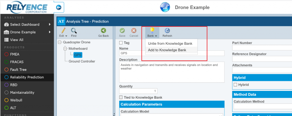 Relyence Reliability Prediction Add to Knowledge Bank
