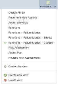 List of FMEAs Worksheet Views
