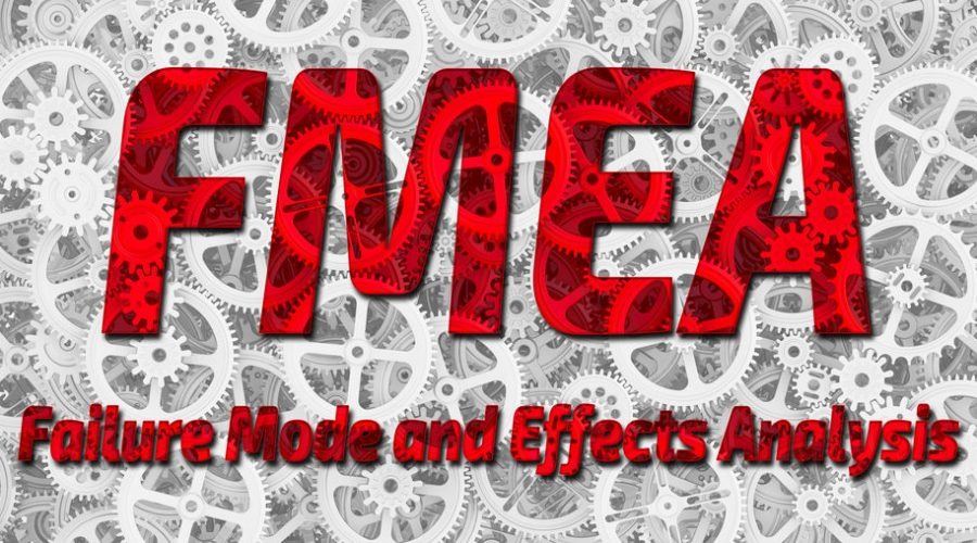 FMEA word in Red with Gears in background
