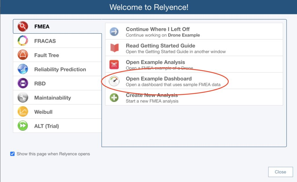 Relyence Welcome Dialog with Example Dashboards